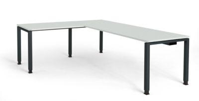 mauser Schreibtisch, verkettet, Fußform Quadrat-/Rechteckrohr - HxBxT 680 – 760 x 2000 x 800 mm, Winkelansatz links (Breite 1000 mm)