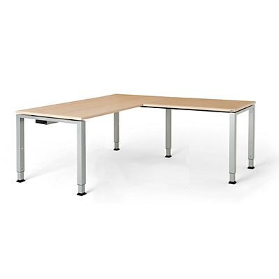 mauser Schreibtisch, verkettet, Fußform Quadrat-/Rechteckrohr - HxBxT 650 – 850 x 1600 x 800 mm, Winkelansatz rechts (Breite 1000 mm)