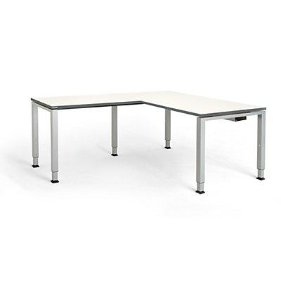 mauser Schreibtisch, verkettet, Fußform Quadrat-/Rechteckrohr - HxBxT 650 – 850 x 1600 x 800 mm, Winkelansatz links (Breite 1000 mm)