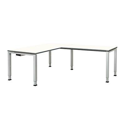 mauser Schreibtisch, verkettet, Fußform Quadrat-/Rechteckrohr - HxBxT 650 – 850 x 1600 x 800 mm, Winkelansatz rechts (Breite 1200 mm)