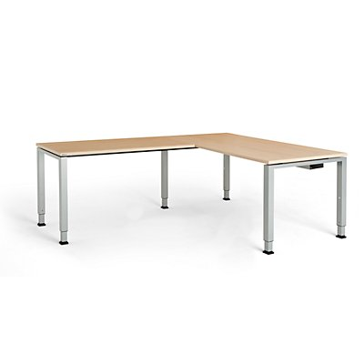 mauser Schreibtisch, verkettet, Fußform Quadrat-/Rechteckrohr - HxBxT 650 – 850 x 1600 x 800 mm, Winkelansatz links (Breite 1200 mm)