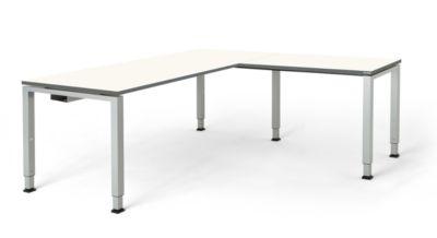 mauser Schreibtisch, verkettet, Fußform Quadrat-/Rechteckrohr - HxBxT 650 – 850 x 1800 x 800 mm, Winkelansatz rechts (Breite 1000 mm)