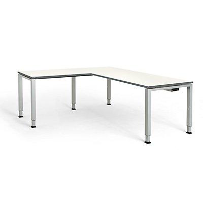 mauser Schreibtisch, verkettet, Fußform Quadrat-/Rechteckrohr - HxBxT 650 – 850 x 1800 x 800 mm, Winkelansatz links (Breite 1000 mm)