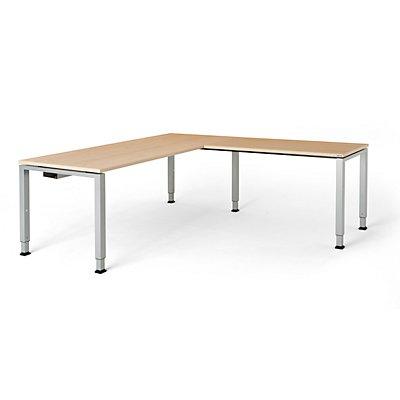 mauser Schreibtisch, verkettet, Fußform Quadrat-/Rechteckrohr - HxBxT 650 – 850 x 1800 x 800 mm, Winkelansatz rechts (Breite 1200 mm)