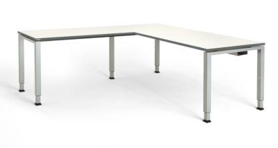 mauser Schreibtisch, verkettet, Fußform Quadrat-/Rechteckrohr - HxBxT 650 – 850 x 1800 x 800 mm, Winkelansatz links (Breite 1200 mm)