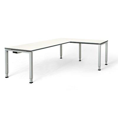 mauser Schreibtisch, verkettet, Fußform Quadrat-/Rechteckrohr - HxBxT 650 – 850 x 2000 x 800 mm, Winkelansatz rechts (Breite 1000 mm)