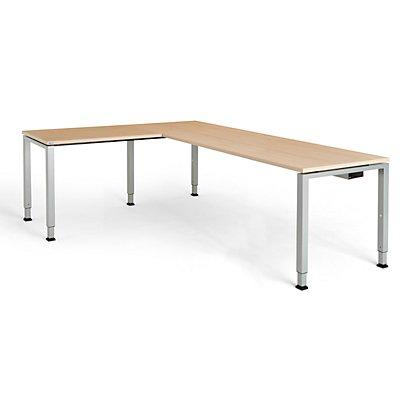 mauser Schreibtisch, verkettet, Fußform Quadrat-/Rechteckrohr - HxBxT 650 – 850 x 2000 x 800 mm, Winkelansatz links (Breite 1000 mm)