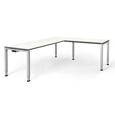 mauser Schreibtisch, verkettet, Fußform Quadrat-/Rechteckrohr - HxBxT 650 – 850 x 2000 x 800 mm, Winkelansatz rechts (Breite 1200 mm)