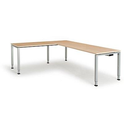 mauser Schreibtisch, verkettet, Fußform Quadrat-/Rechteckrohr - HxBxT 650 – 850 x 2000 x 800 mm, Winkelansatz links (Breite 1200 mm)