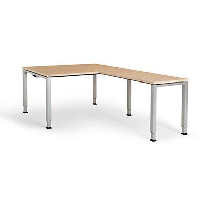 mauser Schreibtisch, verkettet, Fußform Quadrat-/Rechteckrohr - HxBxT 650 – 850 x 1600 x 900 mm, Winkelansatz rechts (Breite 1000 mm)