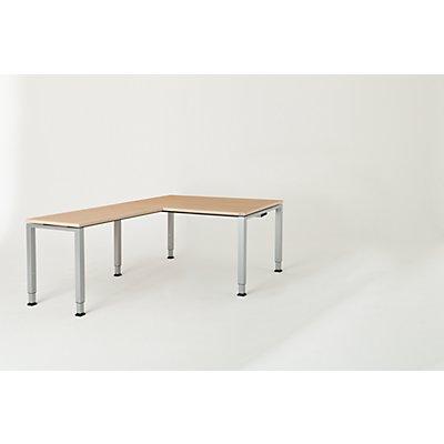 mauser Schreibtisch, verkettet, Fußform Quadrat-/Rechteckrohr - HxBxT 650 – 850 x 1600 x 900 mm, Winkelansatz links (Breite 1000 mm)