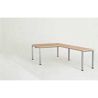 mauser Schreibtisch, verkettet, Fußform Quadrat-/Rechteckrohr - HxBxT 650 – 850 x 1600 x 900 mm, Winkelansatz rechts (Breite 1200 mm)