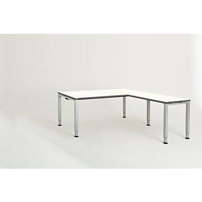 mauser Schreibtisch, verkettet, Fußform Quadrat-/Rechteckrohr - HxBxT 650 – 850 x 1800 x 900 mm, Winkelansatz rechts (Breite 1000 mm)
