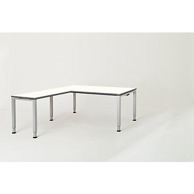 mauser Schreibtisch, verkettet, Fußform Quadrat-/Rechteckrohr - HxBxT 650 – 850 x 1800 x 900 mm, Winkelansatz links (Breite 1000 mm)