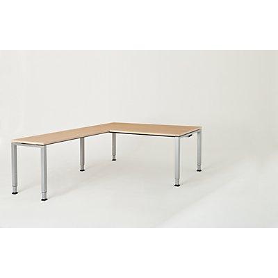 mauser Schreibtisch, verkettet, Fußform Quadrat-/Rechteckrohr - HxBxT 650 – 850 x 1800 x 900 mm, Winkelansatz links (Breite 1200 mm)