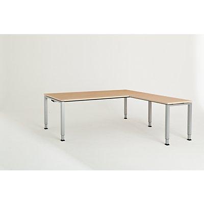 mauser Schreibtisch, verkettet, Fußform Quadrat-/Rechteckrohr - HxBxT 650 – 850 x 2000 x 900 mm, Winkelansatz rechts (Breite 1000 mm)