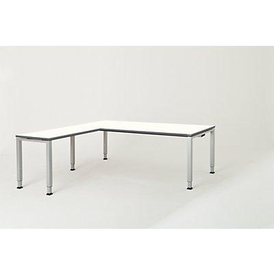 mauser Schreibtisch, verkettet, Fußform Quadrat-/Rechteckrohr - HxBxT 650 – 850 x 2000 x 900 mm, Winkelansatz links (Breite 1000 mm)