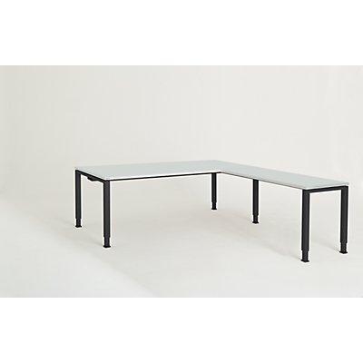 mauser Schreibtisch, verkettet, Fußform Quadrat-/Rechteckrohr - HxBxT 650 – 850 x 2000 x 900 mm, Winkelansatz rechts (Breite 1200 mm)