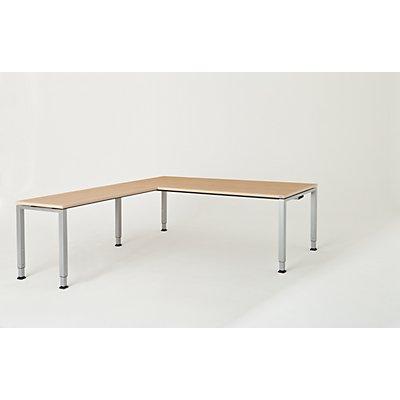 mauser Schreibtisch, verkettet, Fußform Quadrat-/Rechteckrohr - HxBxT 650 – 850 x 2000 x 900 mm, Winkelansatz links (Breite 1200 mm)