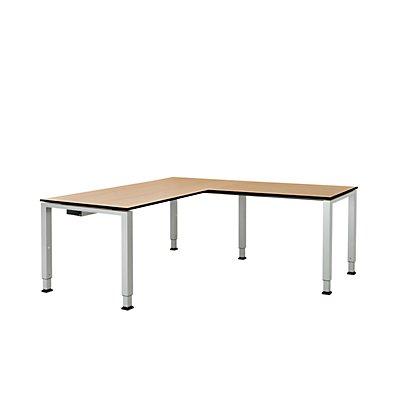 mauser Schreibtisch, verkettet, Fußform Quadrat-/Rechteckrohr - HxBxT 650 – 850 x 1600 x 800 mm, Vollkernplatte, Winkelansatz rechts