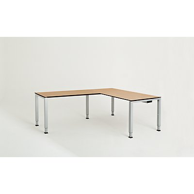 mauser Schreibtisch, verkettet, Fußform Quadrat-/Rechteckrohr - HxBxT 650 – 850 x 1600 x 800 mm, Vollkernplatte, Winkelansatz links