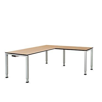 mauser Schreibtisch, verkettet, Fußform Quadrat-/Rechteckrohr - HxBxT 650 – 850 x 1800 x 800 mm, Vollkernplatte, Winkelansatz rechts
