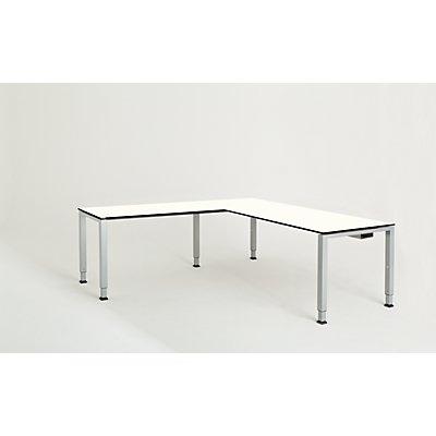 mauser Schreibtisch, verkettet, Fußform Quadrat-/Rechteckrohr - HxBxT 650 – 850 x 1800 x 800 mm, Vollkernplatte, Winkelansatz links