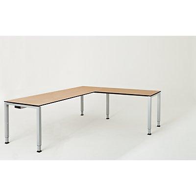 mauser Schreibtisch, verkettet, Fußform Quadrat-/Rechteckrohr - HxBxT 650 – 850 x 2000 x 800 mm, Vollkernplatte, Winkelansatz rechts