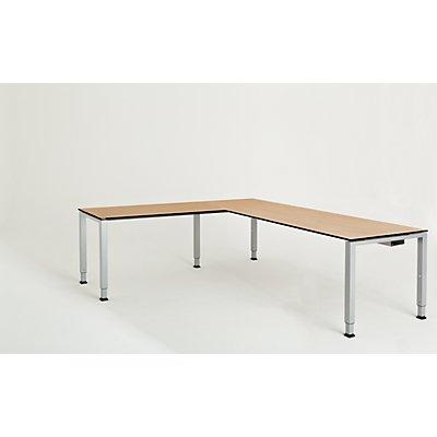 mauser Schreibtisch, verkettet, Fußform Quadrat-/Rechteckrohr - HxBxT 650 – 850 x 2000 x 800 mm, Vollkernplatte, Winkelansatz links