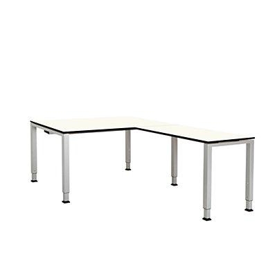 mauser Schreibtisch, verkettet, Fußform Quadrat-/Rechteckrohr - HxBxT 650 – 850 x 1600 x 900 mm, Vollkernplatte, Winkelansatz rechts