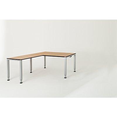 mauser Schreibtisch, verkettet, Fußform Quadrat-/Rechteckrohr - HxBxT 650 – 850 x 1600 x 900 mm, Vollkernplatte, Winkelansatz links