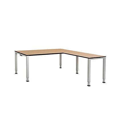 mauser Schreibtisch, verkettet, Fußform Quadrat-/Rechteckrohr - HxBxT 650 – 850 x 1800 x 900 mm, Vollkernplatte, Winkelansatz rechts