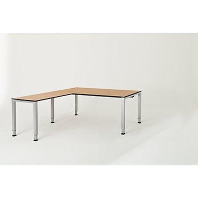 mauser Schreibtisch, verkettet, Fußform Quadrat-/Rechteckrohr - HxBxT 650 – 850 x 1800 x 900 mm, Vollkernplatte, Winkelansatz links