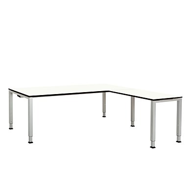 mauser Schreibtisch, verkettet, Fußform Quadrat-/Rechteckrohr - HxBxT 650 – 850 x 2000 x 900 mm, Vollkernplatte, Winkelansatz rechts