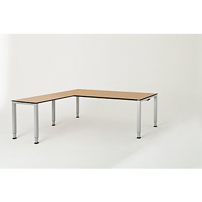 mauser Schreibtisch, verkettet, Fußform Quadrat-/Rechteckrohr - HxBxT 650 – 850 x 2000 x 900 mm, Vollkernplatte, Winkelansatz links