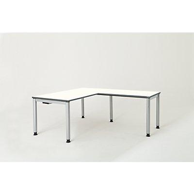 mauser Schreibtisch, verkettet, Fußform Rundrohr - HxBxT 680 – 760 x 1600 x 800 mm, Winkelansatz rechts