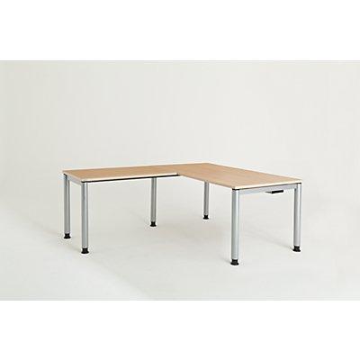 mauser Schreibtisch, verkettet, Fußform Rundrohr - HxBxT 680 – 760 x 1600 x 800 mm, Winkelansatz links