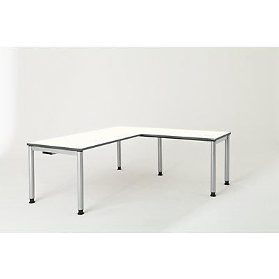 mauser Schreibtisch, verkettet, Fußform Rundrohr - HxBxT 680 – 760 x 1800 x 800 mm, Winkelansatz rechts