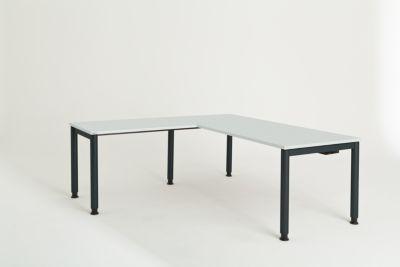 mauser Schreibtisch, verkettet, Fußform Rundrohr - HxBxT 680 – 760 x 1800 x 800 mm, Winkelansatz links