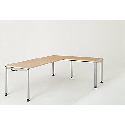 mauser Schreibtisch, verkettet, Fußform Rundrohr - HxBxT 680 – 760 x 2000 x 800 mm, Winkelansatz rechts