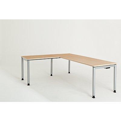 mauser Schreibtisch, verkettet, Fußform Rundrohr - HxBxT 680 – 760 x 2000 x 800 mm, Winkelansatz links