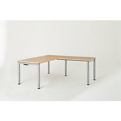 mauser Schreibtisch, verkettet, Fußform Rundrohr - HxBxT 650 – 850 x 1600 x 800 mm, Winkelansatz rechts