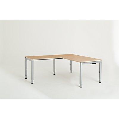 mauser Schreibtisch, verkettet, Fußform Rundrohr - HxBxT 650 – 850 x 1600 x 800 mm, Winkelansatz links