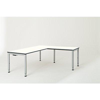 mauser Schreibtisch, verkettet, Fußform Rundrohr - HxBxT 650 – 850 x 1800 x 800 mm, Winkelansatz rechts