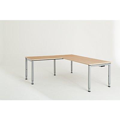 mauser Schreibtisch, verkettet, Fußform Rundrohr - HxBxT 650 – 850 x 1800 x 800 mm, Winkelansatz links