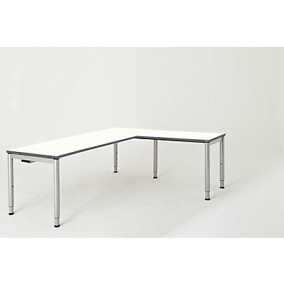 mauser Schreibtisch, verkettet, Fußform Rundrohr - HxBxT 650 – 850 x 2000 x 800 mm, Winkelansatz rechts