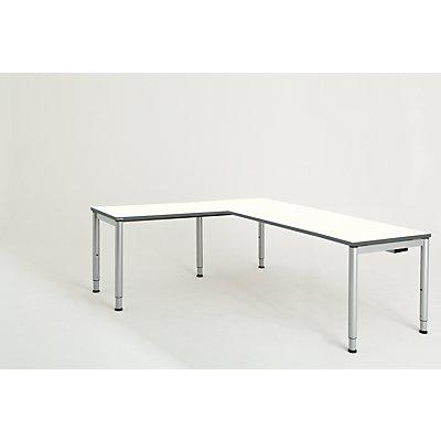 mauser Schreibtisch, verkettet, Fußform Rundrohr - HxBxT 650 – 850 x 2000 x 800 mm, Winkelansatz links