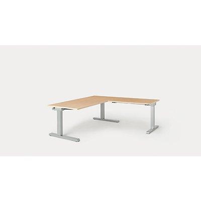 mauser Schreibtisch, verkettet - BxT 1600 x 800 mm, Winkelansatz rechts (Breite 1000 mm)