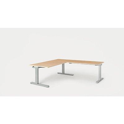 mauser Schreibtisch, verkettet - BxT 1600 x 800 mm, Winkelansatz rechts (Breite 1200 mm)