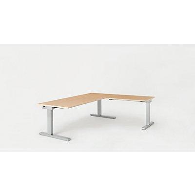mauser Schreibtisch, verkettet - BxT 1800 x 800 mm, Winkelansatz rechts (Breite 1000 mm)